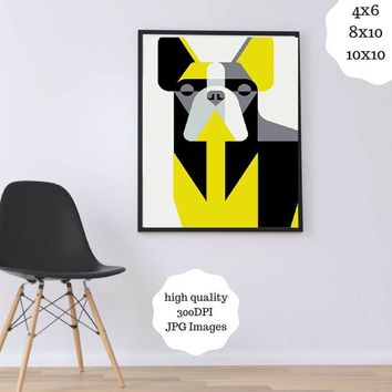 Dog Wall Art French Bulldog, Yellow - Dog Lover Art, Printable Dog Wall Art - Dog Wall Art Printable - French Bulldog Art, Purple Geometric