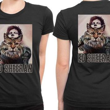 DCCKL83 Ed Sheeran And His Tiger On Canvas 2 Sided Womens T Shirt