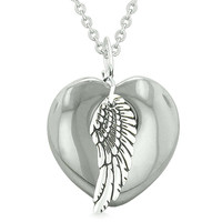 Guardian Angel Wing Inspirational Amulet Magic Puffy Heart Hematite Pendant 22 inch Necklace
