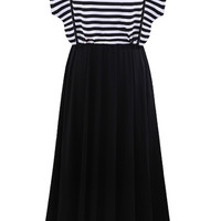 Two-piece Black and White Strips Midi Short Sleeve Dress