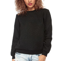 Black Shimmered Crew Neck Sweater
