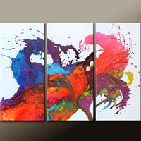 ABSTRACT Art Painting - Huge 3pc Original Modern Contemporary Fine Art Painting by Destiny Womack - dWo - 54x36 - UNTAMED EMOTION