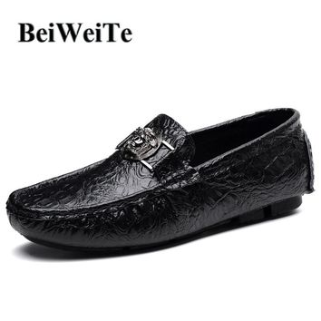 BeiWeiTe Men's Casual Walking Loafers Shoes Black Genuine Leather Breathable Light Sneakers Men Big Size Driving Party Shoes 47