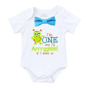 Little Monster First Birthday Shirt Outfit Boy Blue Bow Tie Cute Saying