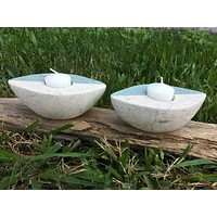 Two Toned Boat Candle Holders - Stone - Set of 2