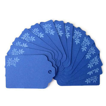 "Gift Hang Tags 1.75"" x 2.75"" Set of 25 All Occasion/ Blue tags/ Hand- stamped leaf pattern tags/ Die cut/ Scrapbook tag"