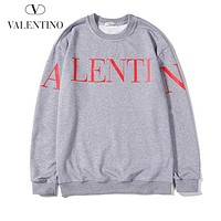 Valentino Popular Men Women Loose Print Long Sleeve Cotton Sweater Sweatshirt Grey
