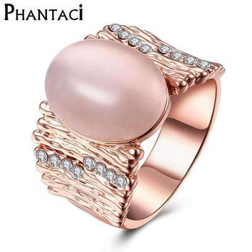 Geometric Rose Gold Color Romantic Crystal Opal Ring Statement Rings Fashion Wedding Natural Stone Ring For Women