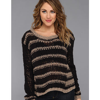 Free People Provence Striped Pullover Black Combo - 6pm.com