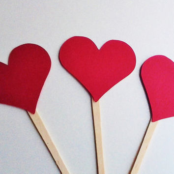 Heart toppers, cupcake toppers, 12, valentines day, party decor, black heart, red heart, ready to ship, feb 14th decor, classroom party