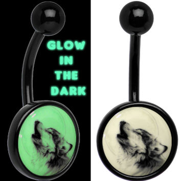 Glow in the Dark Titanium Howling Wolf Belly Ring | Body Candy Body Jewelry