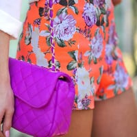 The Brightest Bouquet Shorts: Neon Orange | Hope's