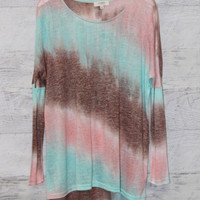 Painted Sunset Mint Dip Dyed Top