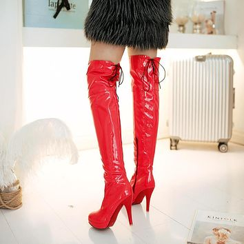 Platform Over Knee High Heel Boots