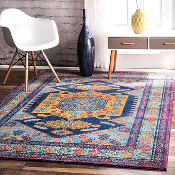 20029 Multi Color Persian Medallion Oriental Area Rugs