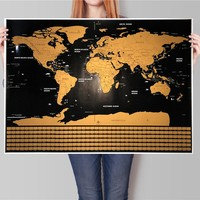 Drop shipping 1 pcs Deluxe World Travel Flag Map Personalized  Scratch Off Vintage Poster bar pub cafe wall painting 82x59cm
