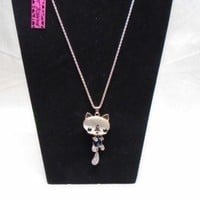 NWT Betsey Johnson Cat Kitten Gold Tone Long Necklace Adjustable Length