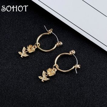 SOHOT Romantic Style Flower Hoop Earrings Gold Silver Color Alloy Metal Cute Women Charm Jewelry Bijoux For Engagement Gift