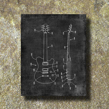 Split Solid Body Electric Guitar Patent Print Art Illustration Printable Instant Download Poster UP039grad