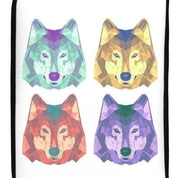 "Geometric Wolf Head Pop Art 17"" Neoprene laptop Sleeve 10"" x 14"" Portrait by TooLoud"