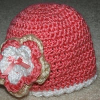 pink and white baby hat with flower by mylittlebows on Etsy