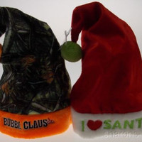 Set 2 Childs Christmas Hats Kids Bubba Claus Jr Camo Orange I Love Santa Holiday