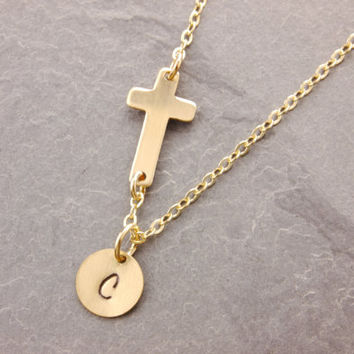Personalized Cross Necklace, sideways cross necklace, gold cross necklace, religious necklace, initial necklace, personalized jewelry, N14