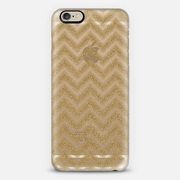 Glitter Gold Chevron Transparent iPhone 6 case by Alice Gosling | Casetify