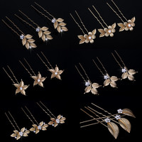Gold Flower Leaf Hair Pins Vintage Wedding Accessories Crystal Bridal Headpiece
