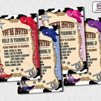 Cowboy Invitations, Cowgirl Invitations, Cowgirl Invitation, Cowboy Invitation, Cowgirl Birthday Invitations, Cowboy Birthday Invitations