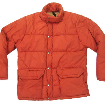 The North Face Down Jacket Vintage Retro 1970s 1980s Men's Burnt Orange 60/40 Zip Puffer Winter Ski Climbing Expedition Parka Size Large L