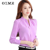 Women Blouse Shirts New 2016 Autumn Formal Work Women Chiffon Blouse Ladies Shirt Sleeve Slim Fit Female Office Shirts Tops