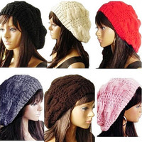 100% Handmade Women's Warm Winter Beret Braided Baggy Beanies Crochet Hat Ski Cap