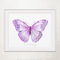 Lavender Purple Butterfly art print, Butterfly wall art, Baby purple decor, Printable wall art print, Butterfly decor, Nursery girl decor
