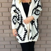 Oversized Geometric Pattern Open Cardigan Sweater