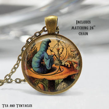 Alice in Wonderland Necklace, Caterpillar, Lewis Carroll, Classic Literature Pendant, chain included X51