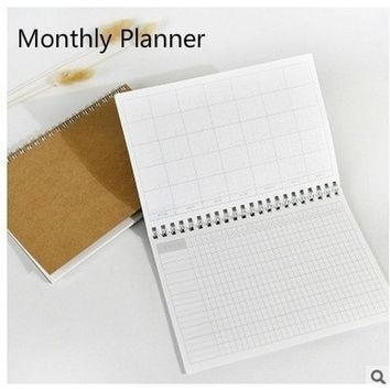 Planner Day Monthly Kraft Notebook Diary Day Planner Diary Kawaii Journal Stationery School Supplies 48 Inner Sheets (Size: 13.5