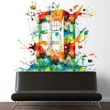cik1866 Full Color Wall decal Watercolor Time Machine Spaceship tardis doctor who living children's bedroom