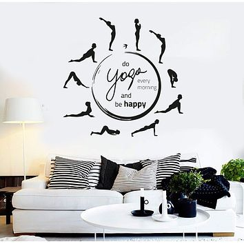 Vinyl Wall Decal Yoga Quote Pose Meditation Room Circle Stickers Unique Gift (ig4373)