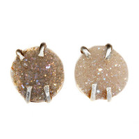 Natural Druzy Sterling Silver Stud Earrings