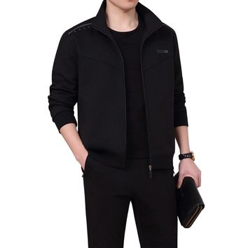 Men's Athletic 3-Piece Suit Full-Zip Jogger Tracksuit Sports Set Casual Sweat Suit Black (Jacket + Trousers + Short Sleeve)