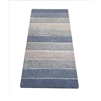 Stripe Designed Cotton Bath Runner, Blue And Beige