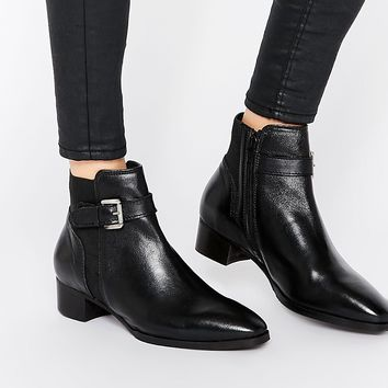 Ravel Buckle Strap Leather Chelsea Boots