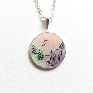 Hand painted pendant Winter Landscape pink mint violet