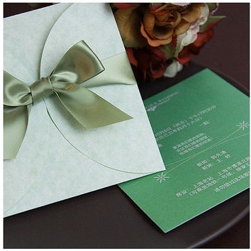 Customize Invitation card. Wedding invitation, E-056,green color with envelope, 4 colors available, wedding favors