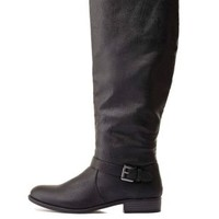 Belted Flat Riding Boots by Charlotte Russe