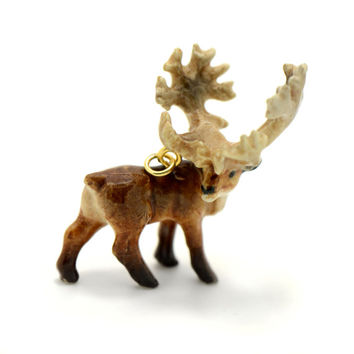 1 - Porcelain Caribou Hand Painted Glaze Ceramic Animal Small Caribou Bead Jewelry Supplies Little Critterz Porcelain