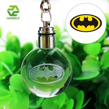 Hot Sell Batman 3D Engraving Glass ball Lamp LED Keychain Colorful Pendant Child's Gift