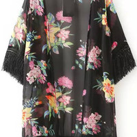 Black Red Floral Fringed Kimono