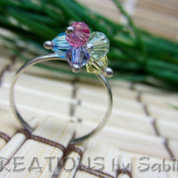 Swarovski Crystals Sterling Silver Ring, Size 7.5, 925 Dangle Dangling Beads, Blue Pink Yellow Green Purple Fun Vintage FREE SHIPPING (174)